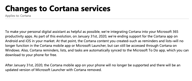 Cortana support article for official announcement of removing it from Android and IOS devices.
